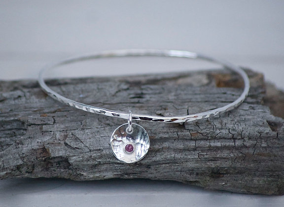 Silver Hammered Bangle with Birthstone Charm