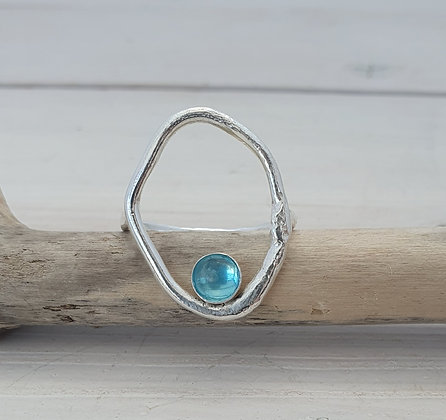 Aphrodite Ring with Blue Apatite