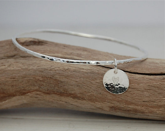 Silver Hammered Bangle with Heart Charm