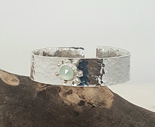 Recycled Sterling Silver Chalcedony Cuff