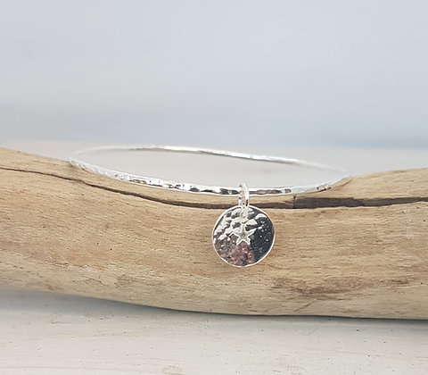 Silver Hammered Bangle with Star Charm