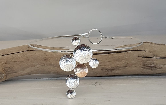 Recycled Sterling Silver & Rose Gold Disc Torque