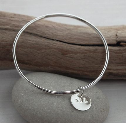 Silver Hammered Bangle with Initial Charm