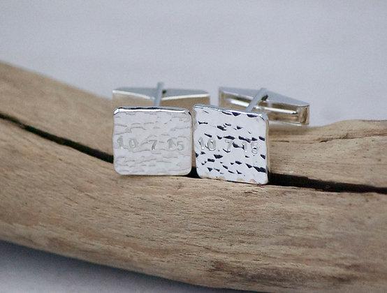 Sterling Silver Date Cufflinks