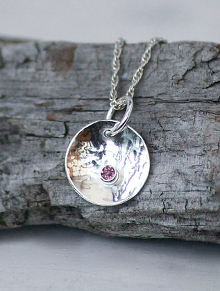 Silver Hammered Pendant with Birthstone BLACK FRIDAY 30% OFF TODAY ONLY!