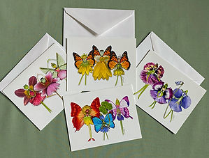 Flower Fairy Trio Notecards by Lisa R Davis from Wallflowers And Cards