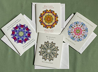 Kaleidoscope-Mandala Notecards by Lisa R Davis of Wallflowers And Cards