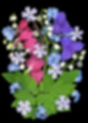 bleeding hearts, forget-me-nots, lily-of-the-valley, spiderwort, sprinng bouquet and phlox