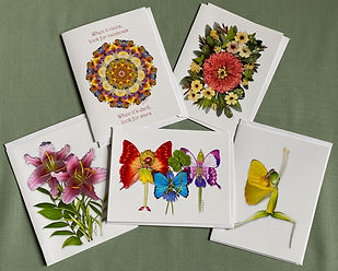 A mixture of notecards by Lisa R Davis available from Wallflowers And Cards