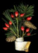 Wnter Bouquet, birch bark, rose-hips, pine cones