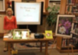 Lisa Davis prparing to do one of her inspirational presentations