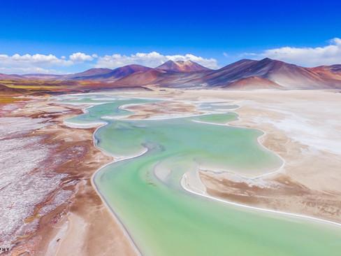 """Green Palette of a Serpentine Lake"" - Antofagasta, Chile"