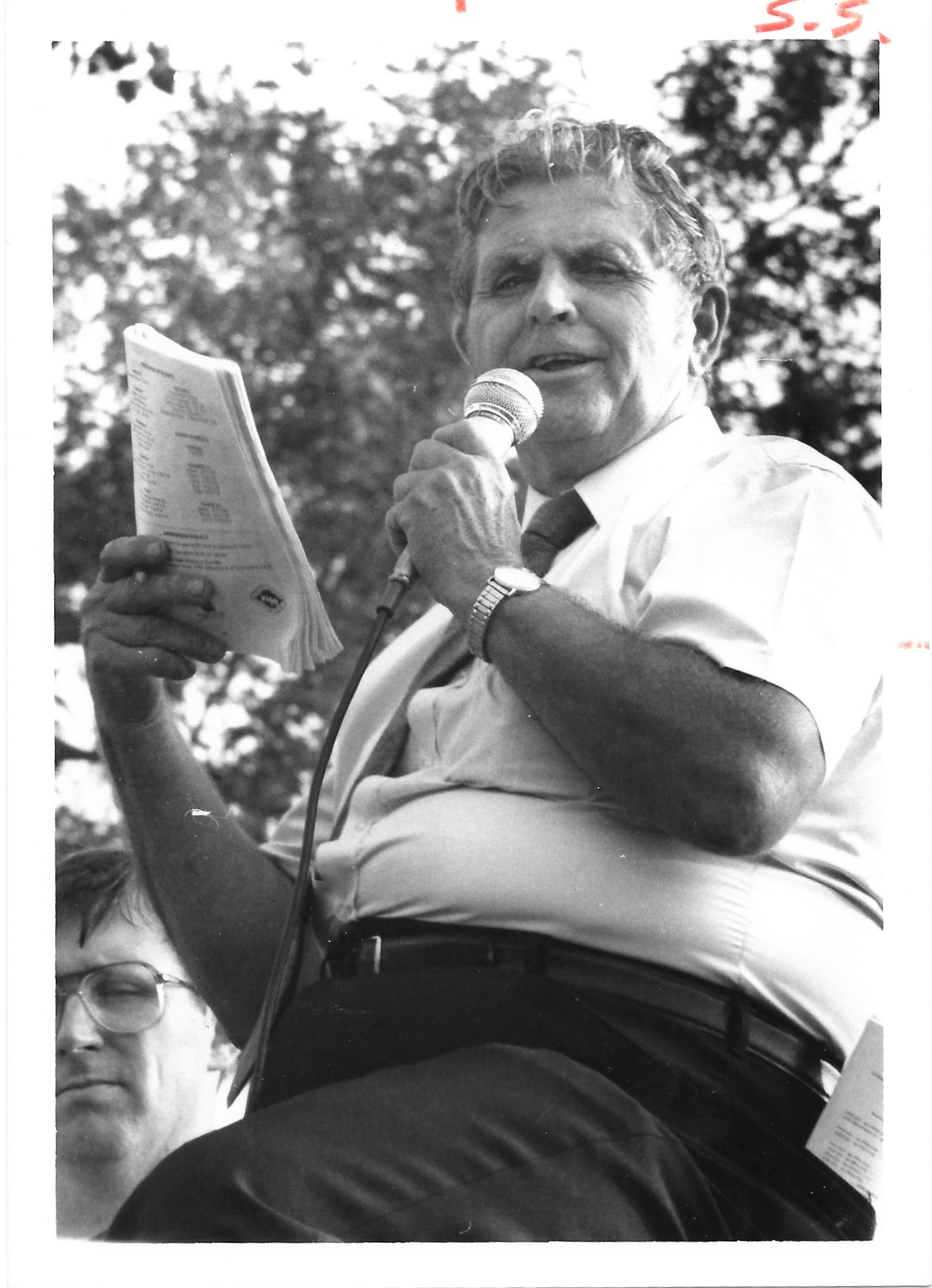 Bud Behm announcing the parade
