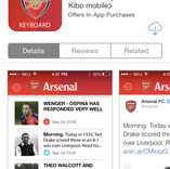 Arsenal FC keyboard appstore page (iOS)