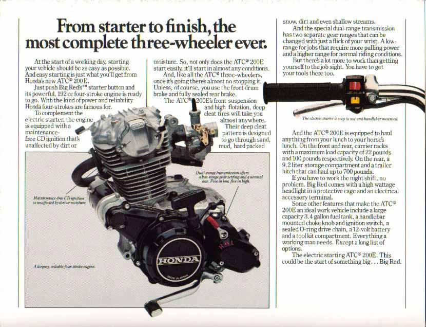 1982 Honda Big red ATC 200E brochures ads and information