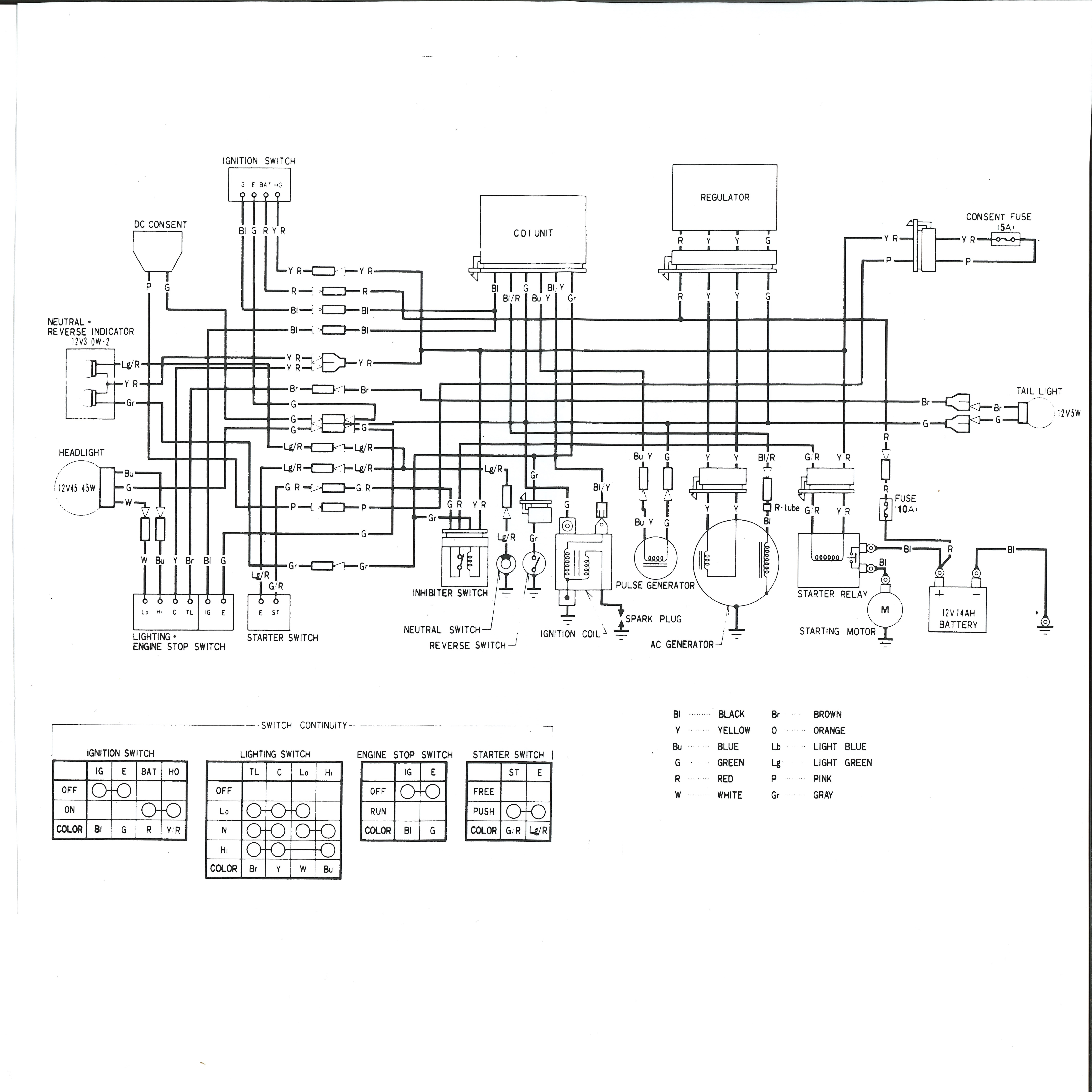 1983 Honda big red atc 200e Wiring Diagram