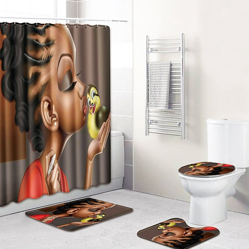 4 PCS Shower Curtain Carpet Bathroom Cushion Set African Women Personality Mat