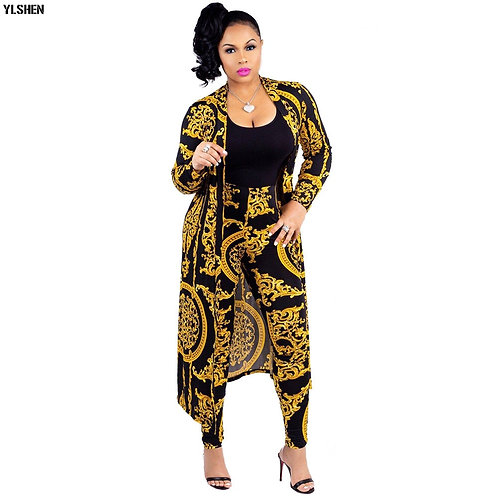 Two Piece Set Print African Dresses for Women Dashiki Plus Size Clothes