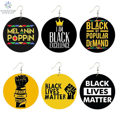 BlM Saying Trendy Women Print Jewelry Natural Wood Drop Earrings Afro Power Fist