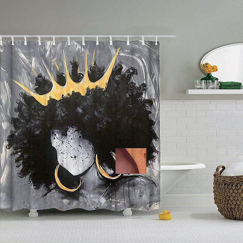 African American Abstract Print Waterproof Fabric Polyester Bath Curtain Sets