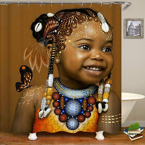 Afro Girls Black African Art American Shower Curtain,Waterproof Polyester Fabric