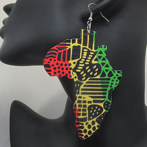 Free Shipping! 2019 Newest Printing African Map Wooden Earrings