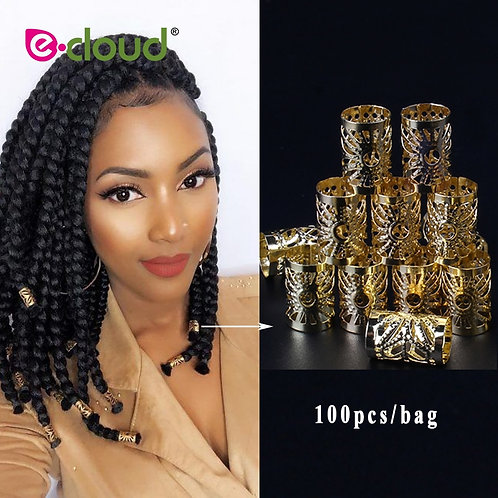 100Pcs/Gold/Silver Hair Dreadlock Adjustable Hair Braids Bead Cuff Clip 10mm