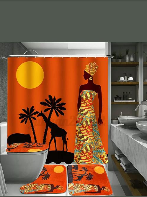 Exotic Customs Waterproof Bathroom Shower Curtain Toilet Cover Mat Non-Slip Rug