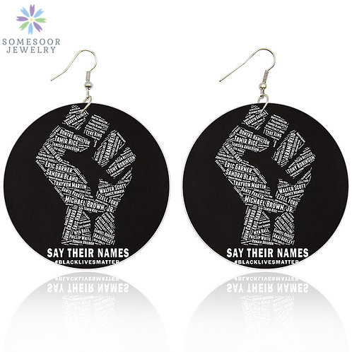 African Power Fist Wooden Drop Earrings Afro History Names for Black Women Gift