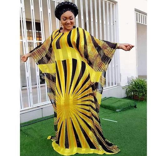 Yellow Chiffon African Dresses for Women Africa Clothing Muslim Long Dress