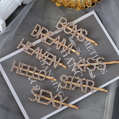 1PC Women Luxury Sparkly Letter Hair Clip Word Crystal Bobby Pins