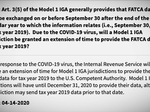 U.S Internal Revenue Service extended timeline for IGA-1 Jurisdiction to provide FATCA