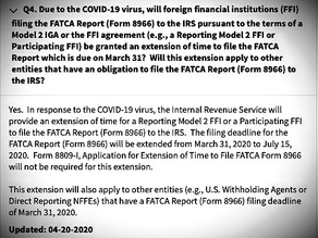 IRS extends FATCA reporting timeline for Reporting Model 2 and Participating FFI's to 15 July 2020