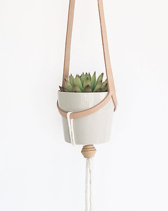 Small Leather Hanging Planter. Style 3