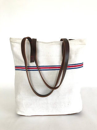 Vintage Grainsack and Leather Tote