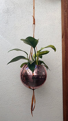 10in Rose Gold Leather Disco Planter