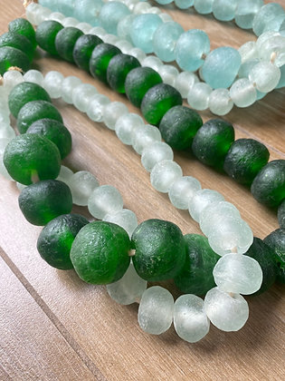 Large African Recycled Glass Beads - Green