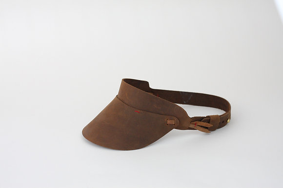 Cambria Visor Hand-Stitched in Oil Tanned Leather