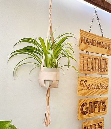 Large Leather Wrapped  Planter with Footed Pot