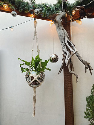 "8 "" Disco Ball Macrame Plant Hanger With Tassel"