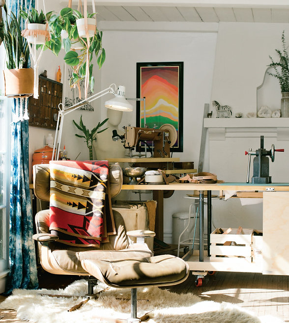 Right Tribe | Creative Studio | Manhattan Beach Califronia | Southbay Magazine | Leather Studio | Eames Chair | Leather Visor