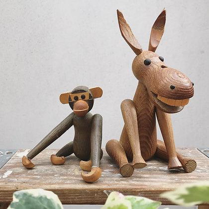 Mid-Century Zoo Line Wood Donkey