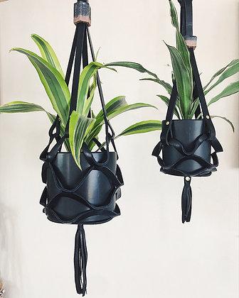 Large Black Leather Planter