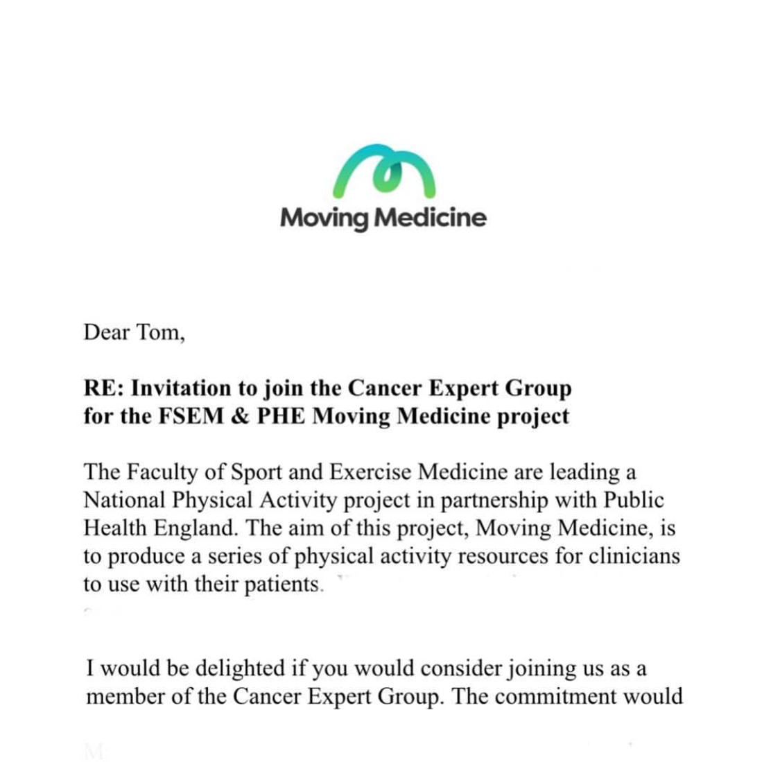 Invitation to join the Moving Medicine Cancer Expert Group