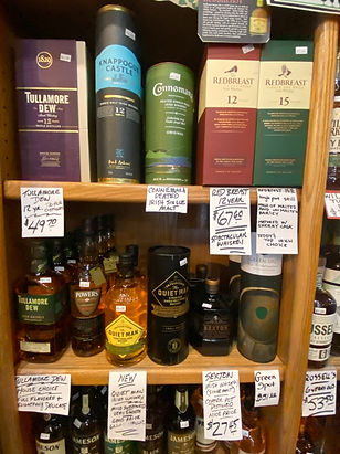 Irish Whiskeys at Plaza Liquors