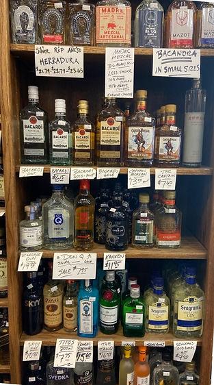 Flask bottles at Plaza Liquors