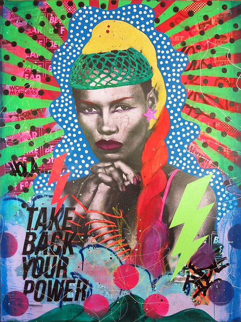 LA STREET GALERIE - INDIE 184 - TAKE BACK YOUR POWER - 91x121cm - 2017