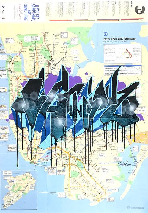 GRAFFITI MAP ZIMAD subway - street art - geek art