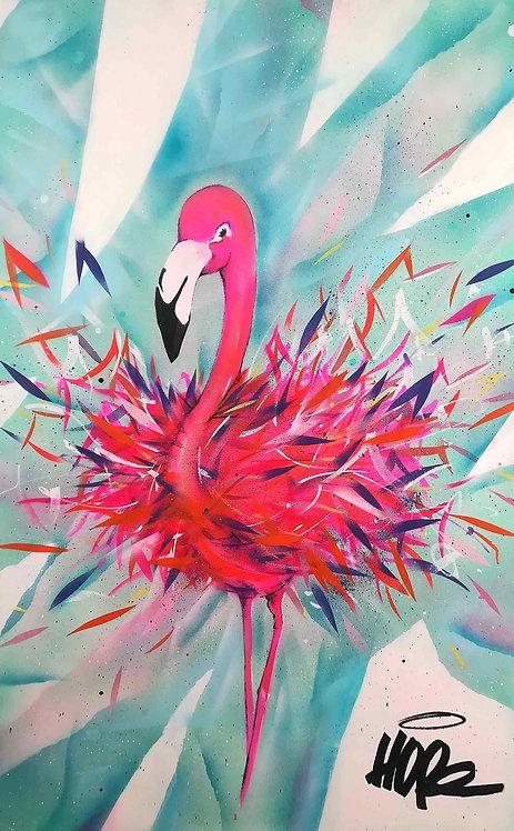 LA STREET GALERIE - HOPE 1393 - Flamingo - 81x130cm - 2019