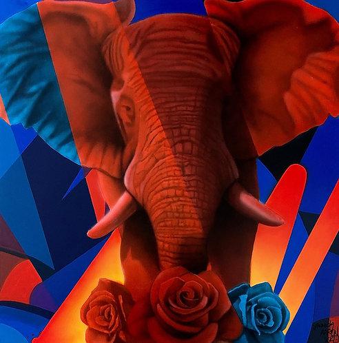 Yannick AARON - ELEPHANT - 100x100cm